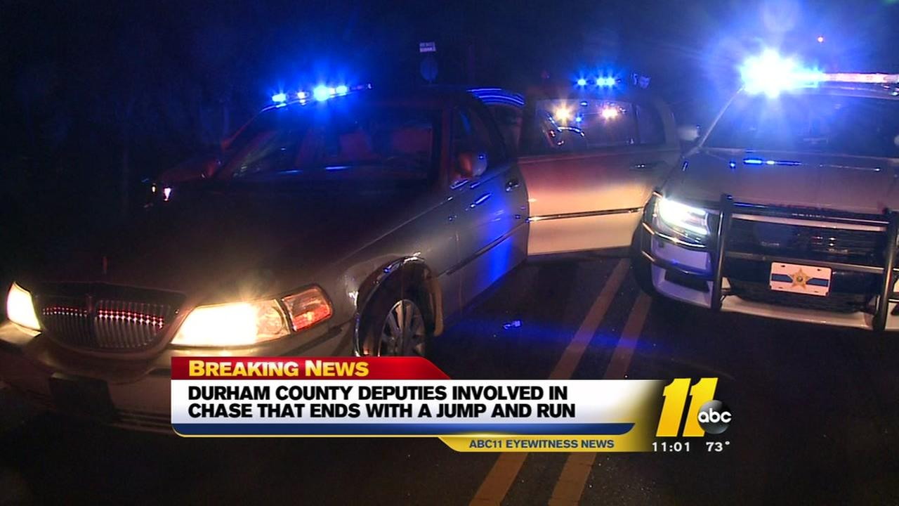 Chase ends with a jump and run in Durham County