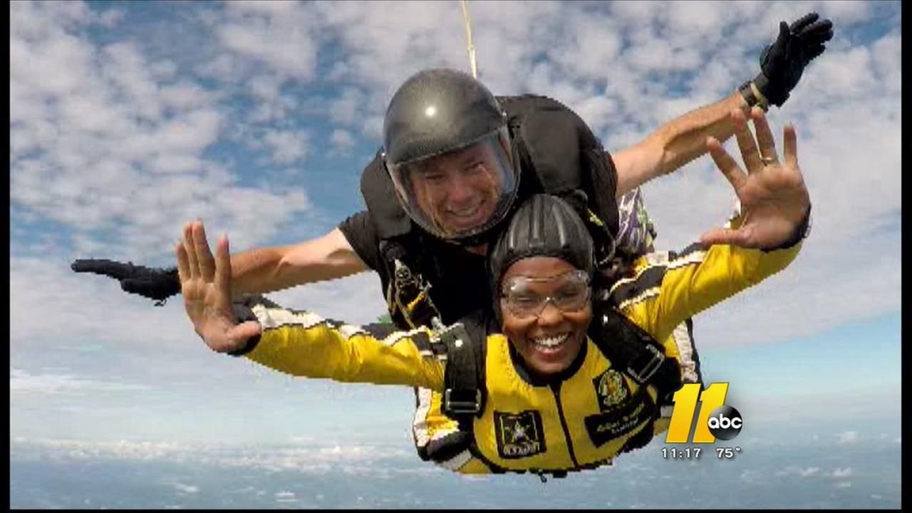 Tisha Powell skydives with the US Armys Golden Knights