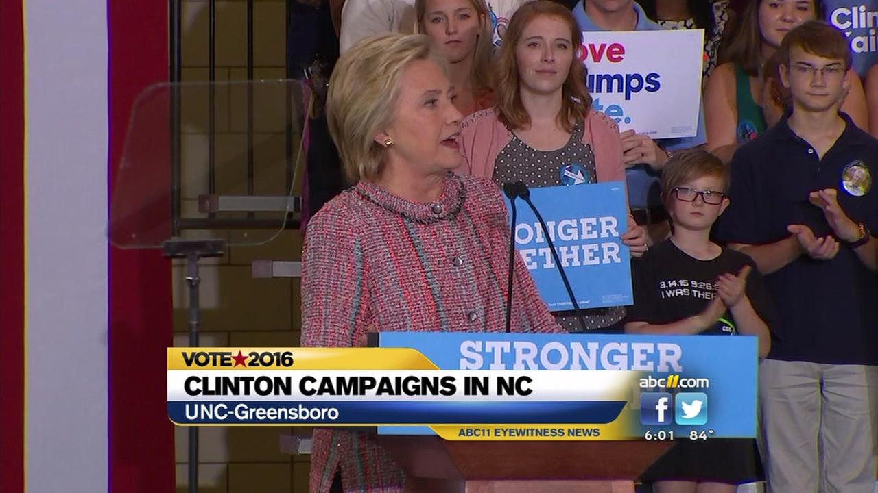 Hillary Clinton campaigns in Greensboro