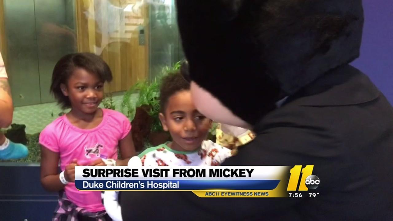 Surprise visit from Mickey Mouse at Duke Childrens hospital