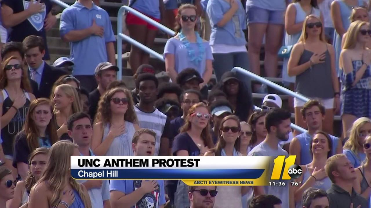 Some fans protest National Anthem at UNC game