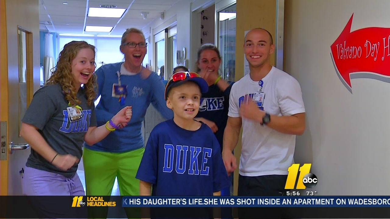 Nurses at Duke help boy with Running Man Challenge