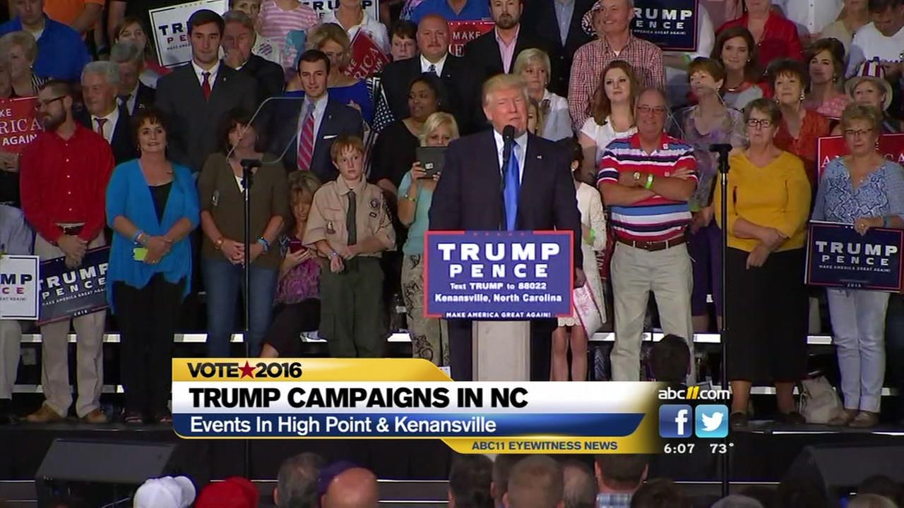 Donald Trump campaigns in NC