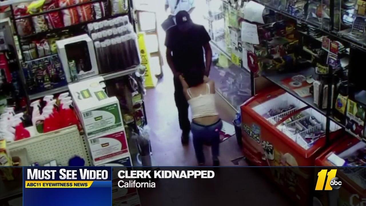 Clerk kidnapping caught on camera