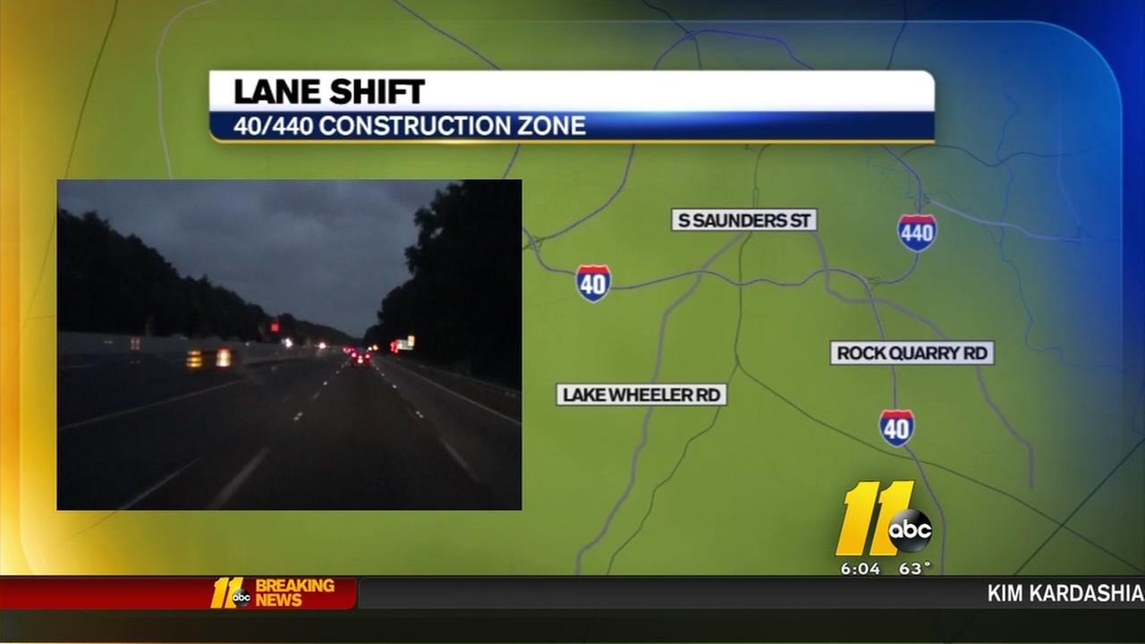 I-40/I-440 construction zone lane shift