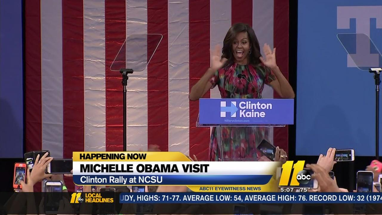 Michelle Obama campaigns in Raleigh