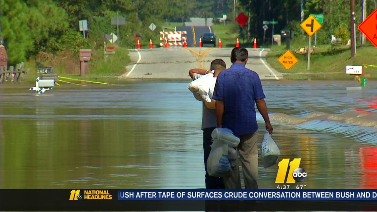 Johnston County residents brave flood waters to get food