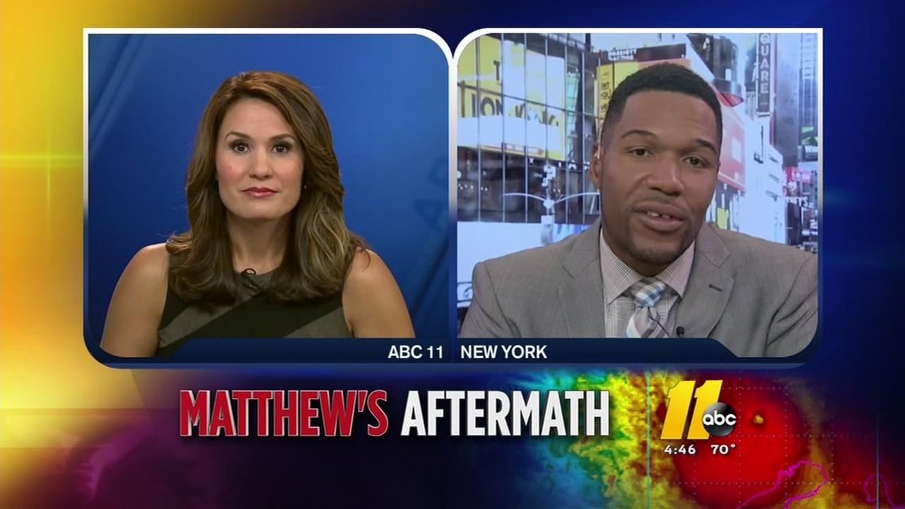 Michael Strahan watches anxiously as Matthew hits Fayetteville