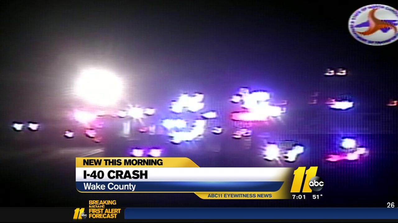 I-40 lanes close in Wake County after crash