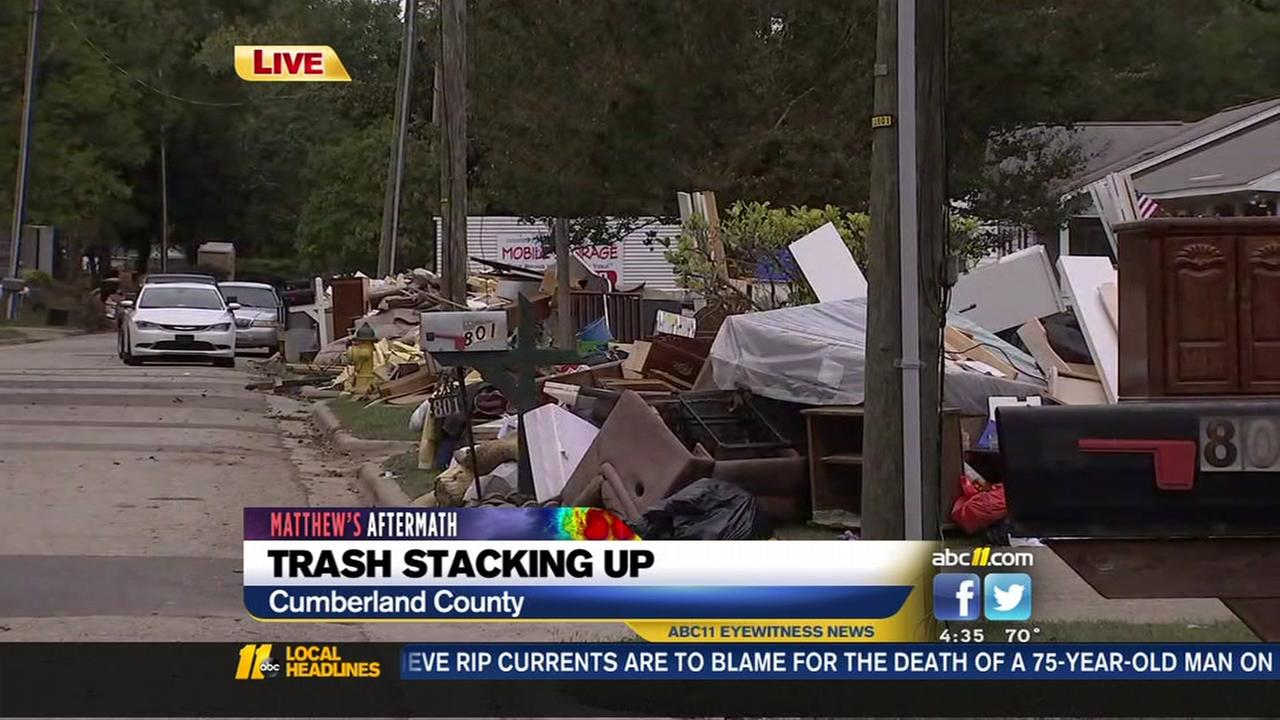 Trash piling up after the storm in Cumberland County