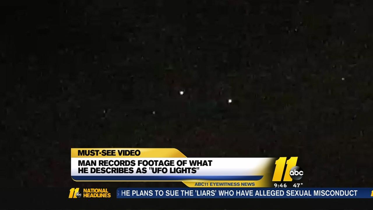 Does this video show UFO lights in the NC sky?