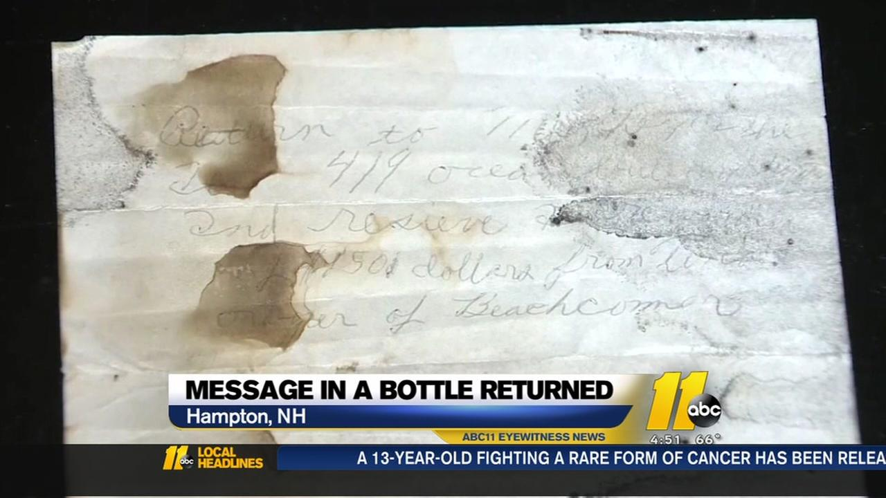 Message in a bottle returned after 50 years
