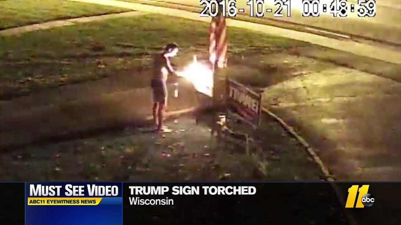 Trump sign torched
