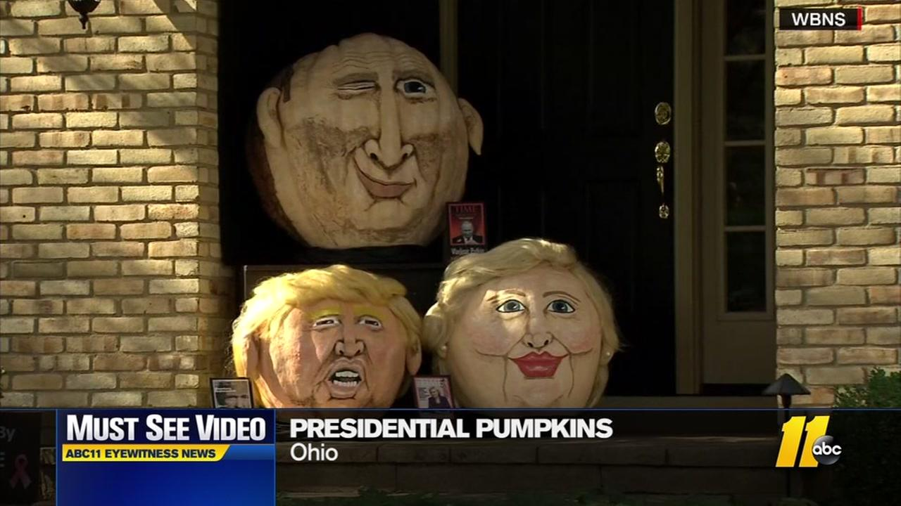 Presidential pumpkins adorn Ohio porch