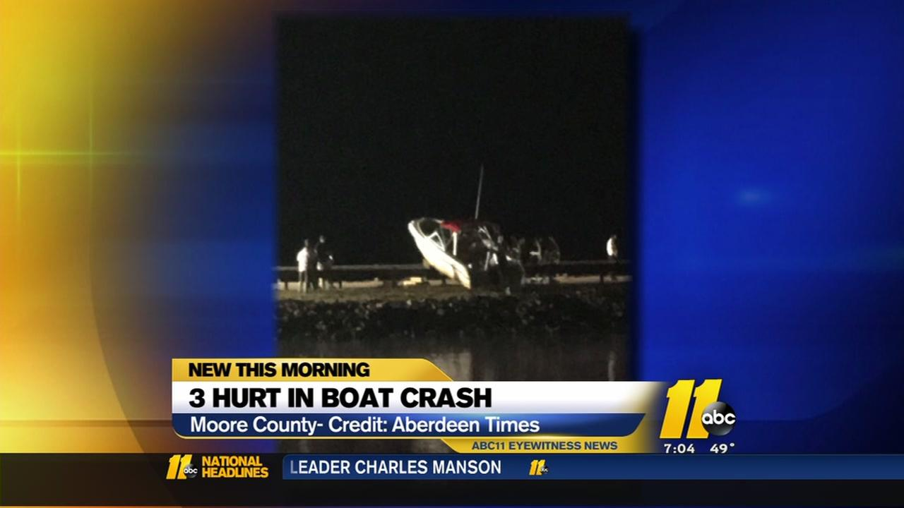 3 hurt in boat crash in Moore County