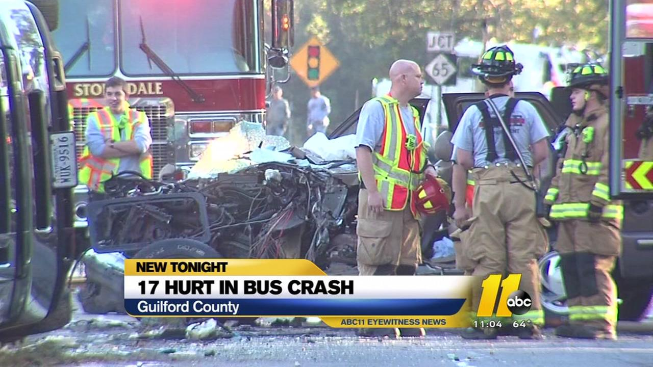17 hurt in NC bus crash