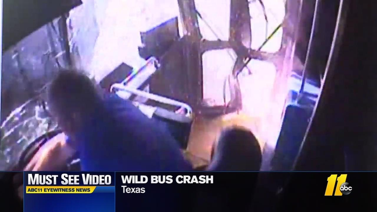 Wild bus crash caught on camera