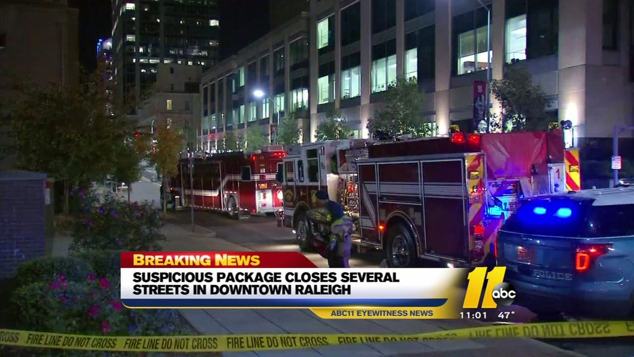 Suspicious package in downtown Raleigh