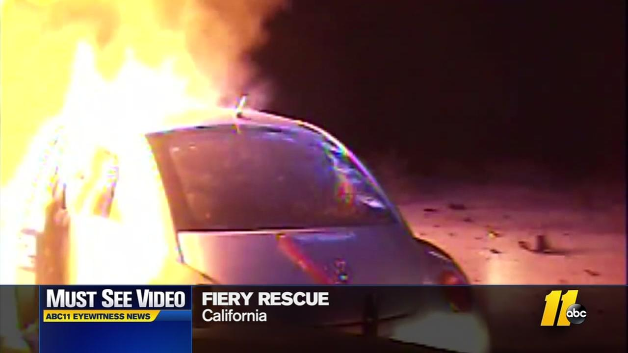 Fiery rescue saves CA driver