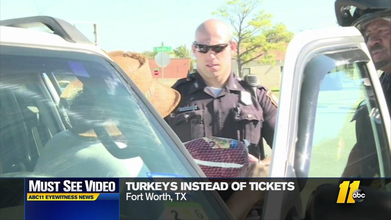 Officers give turkeys instead of tickets