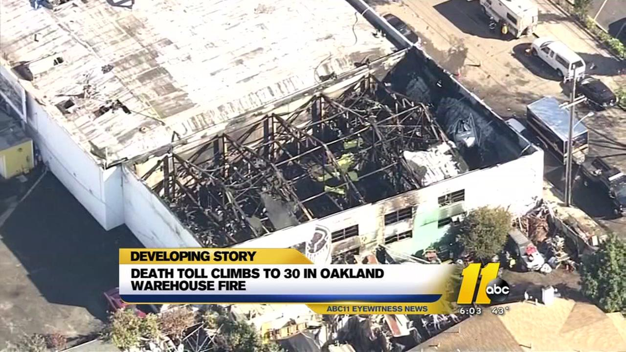 Death toll climbs to 30 in Oakland Warehouse fire