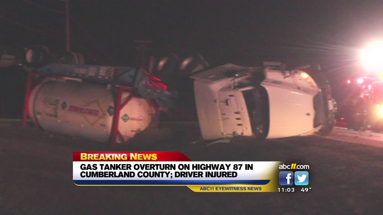 Gas tanker overturns in Cumberland County