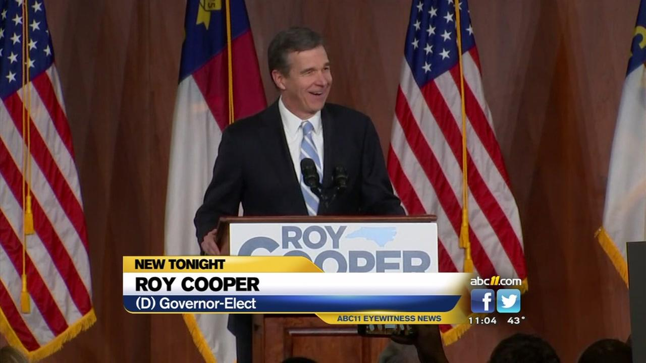 Governor-elect Roy Cooper holds rally in Raleigh