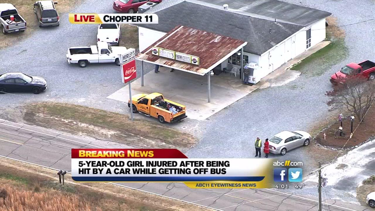 Girl hit by car after getting off school bus