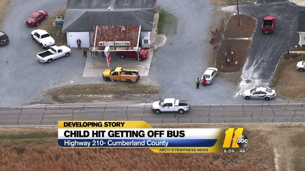 Child hit getting off a school bus