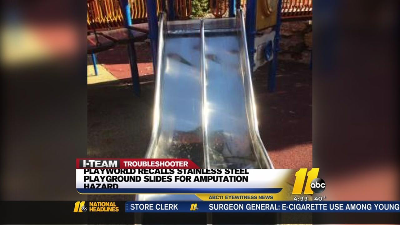 Playground slide recalled