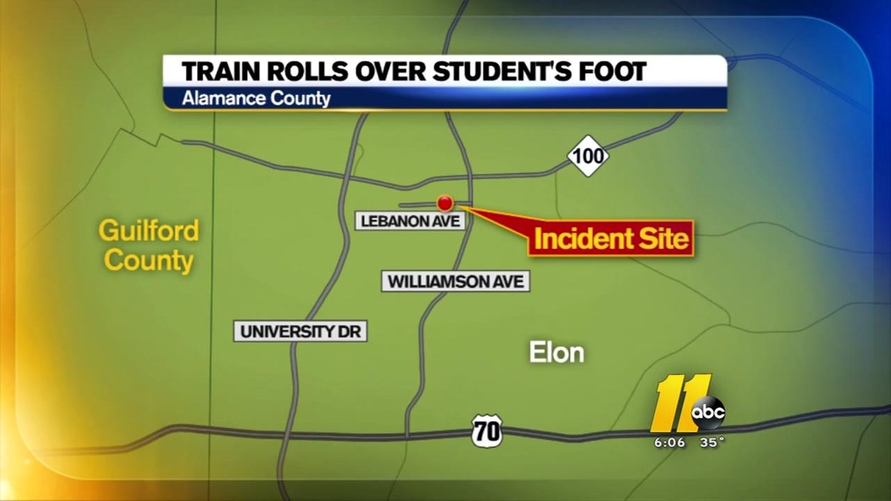 Train rolls over Elon students foot; may require amputation