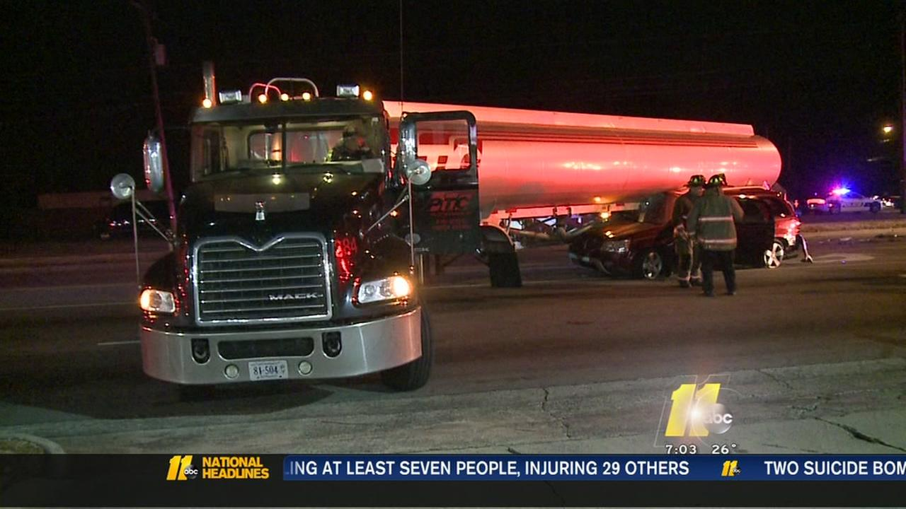 Van collides with tanker in Durham