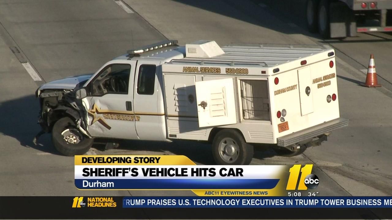 A Durham sheriffs office vehicle crashed into another car