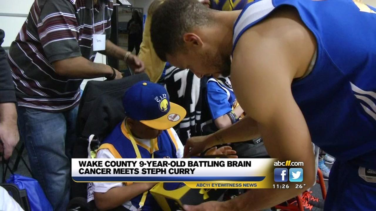 A Wake County boy with brain cancer got his wish to meet Steph Curry