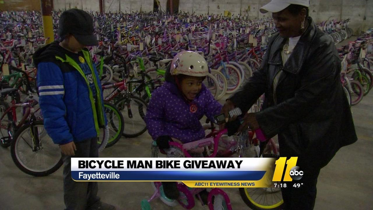 Bicycle Man bike giveaway in Fayetteville