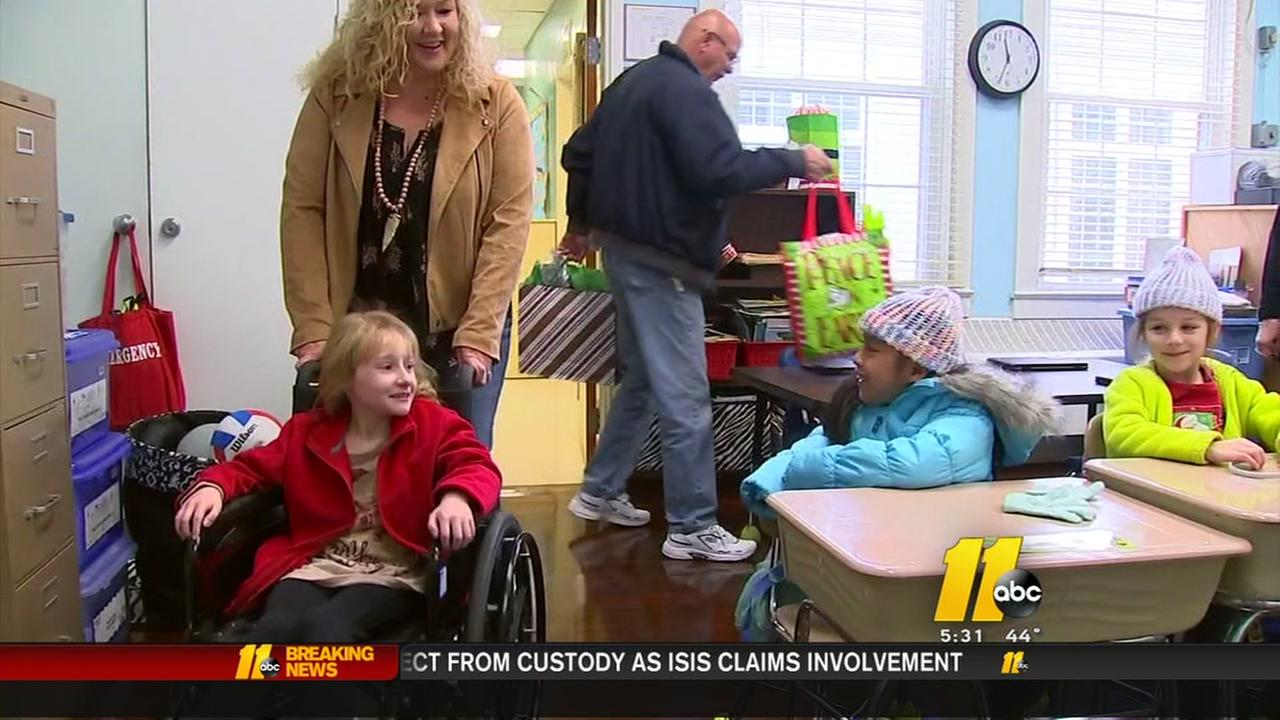 Girl recovering from being hit by truck visits classmates