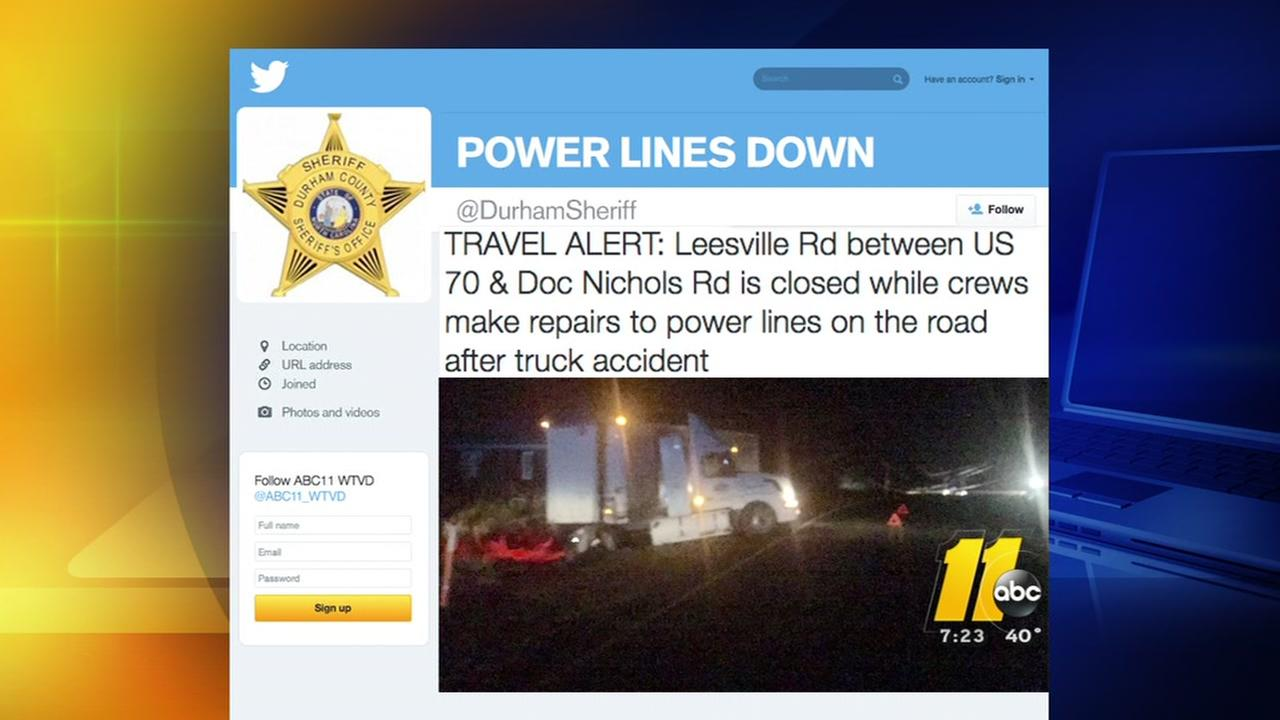Truck hits power lines