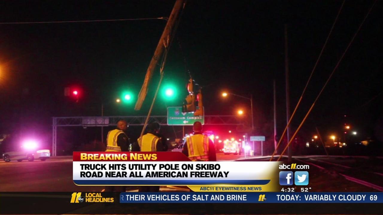 Truck hits utility pole in Fayetteville