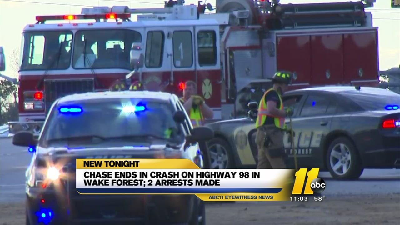 Chase ends in crash, arrests in Wake Forest