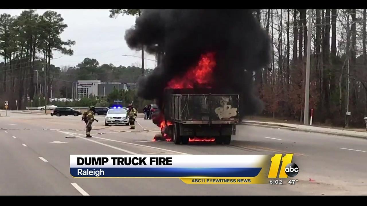 2 men escape dump truck fire in Raleigh
