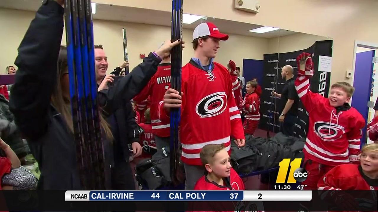 Garner youth hockey team gets a Canes surprise