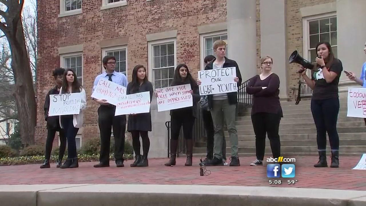 UNC students protest Trump