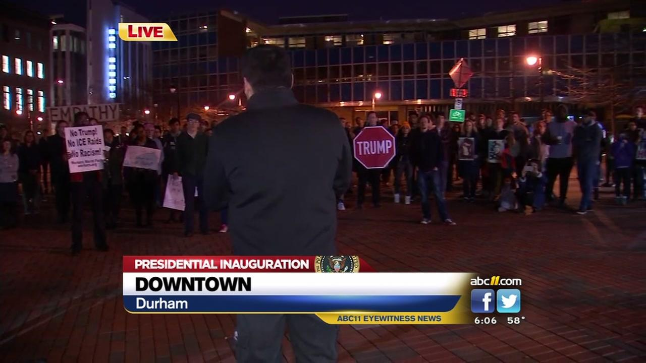 Protest of President Trump happening in downtown Durham