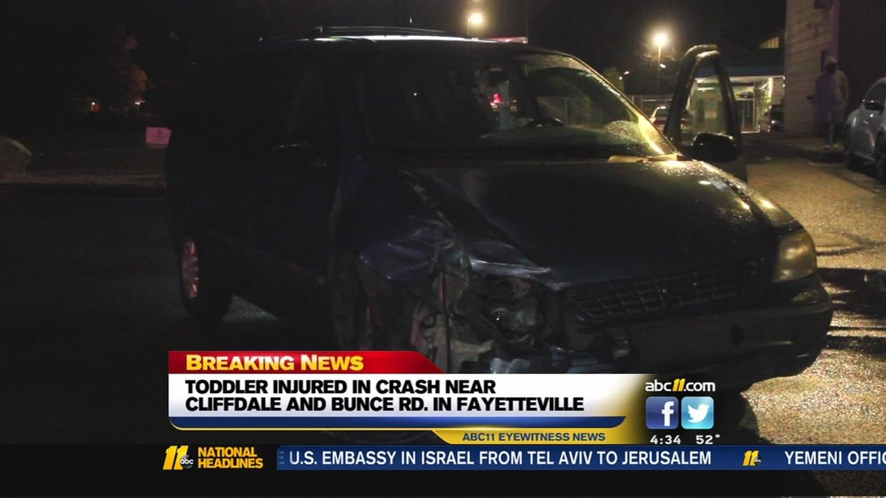 Toddler injured in Fayetteville Crash