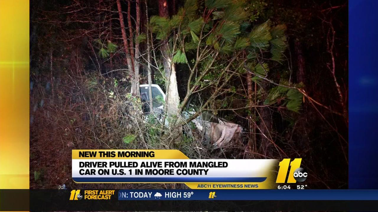 Driver pulled alive from mangled Moore County car