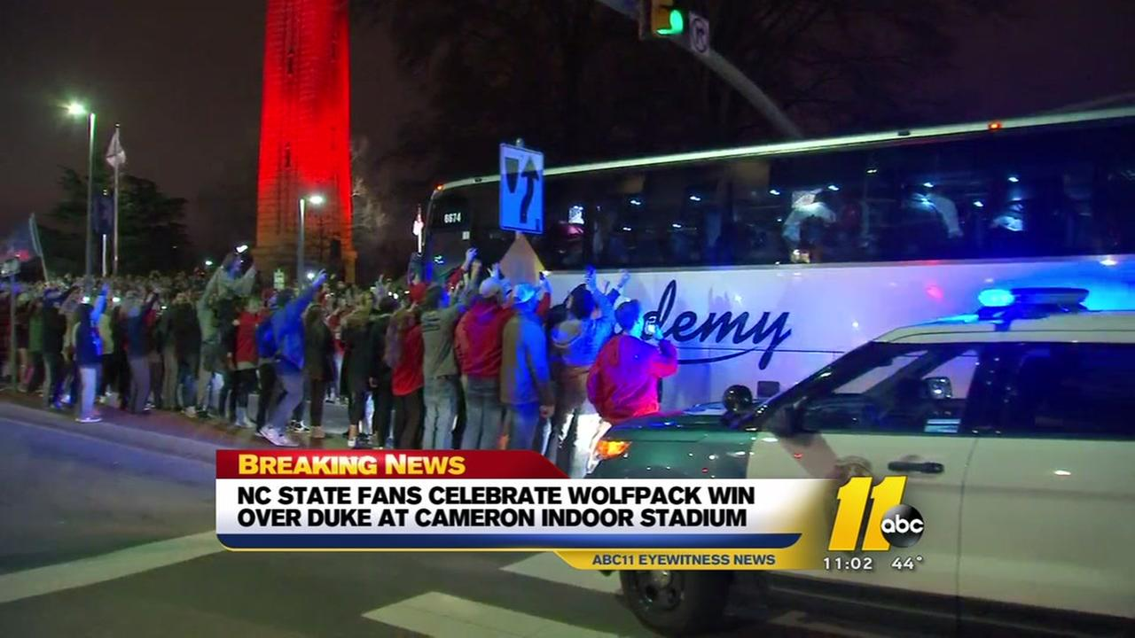 Fans celebrates at Bell Tower as State upsets Duke