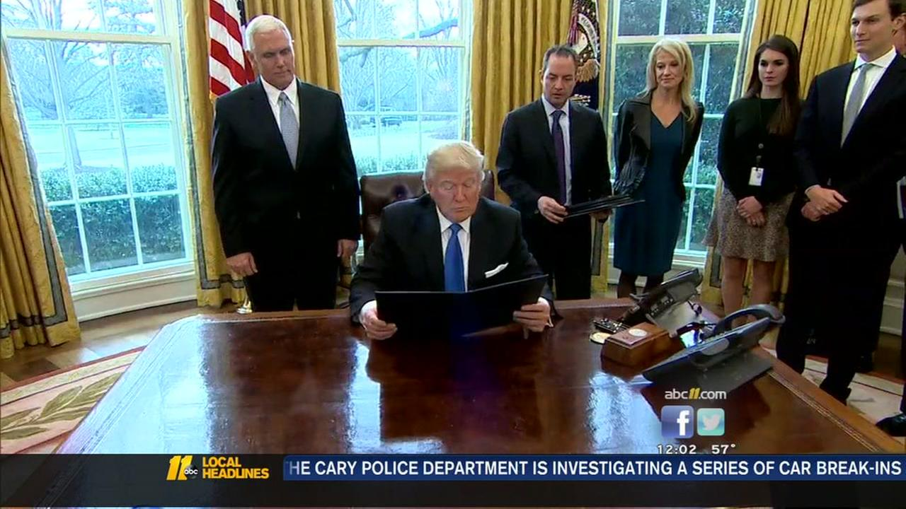 Trump takes executive action on oil pipelines
