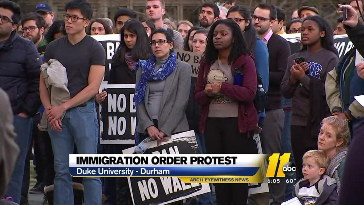 Immigration order protest at Duke University