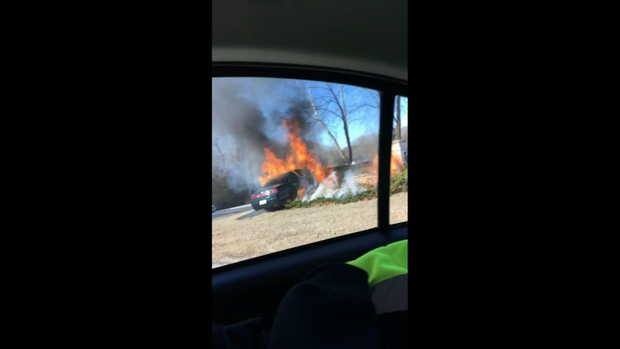 Fiery crash in Johnston County