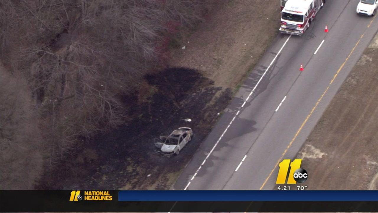 Car fire causes backups in Wake County